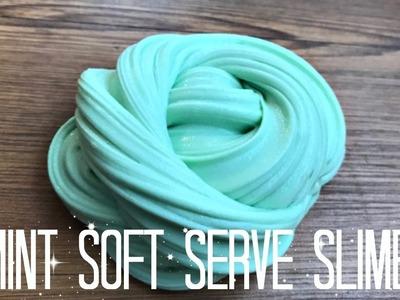 How to Make Mint Soft Serve Fluffy Stretchy Slime DIY!
