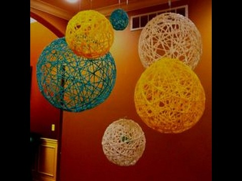 How to make yarn-string  balloon ,  DIY