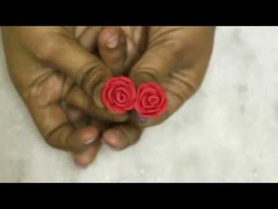 Polymer Clay Rose Earrings Studs Making   Clay Jewellery Making at Home