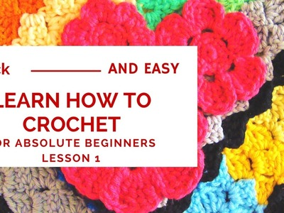 Quick and Easy Learn How To Crochet for Absolute Beginners Lesson 1 -  Slip Knot and Chain Stitch