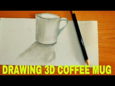 Very easy !! How to draw 3D coffee mug | Time Lapse