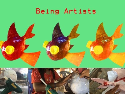 Creative Idea: Make a Wonderful Fish with Paper, Balloon, Water Bottles by kid Part 2.