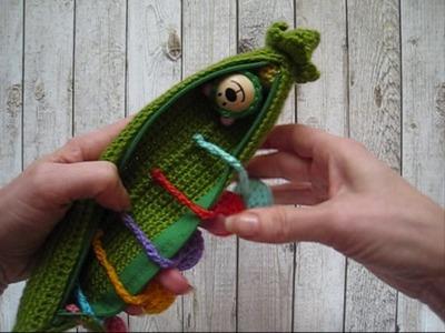 Crochet Pea Pod Educational Toy fine motor skills Play food Montessori Amigurumi Gift for kids
