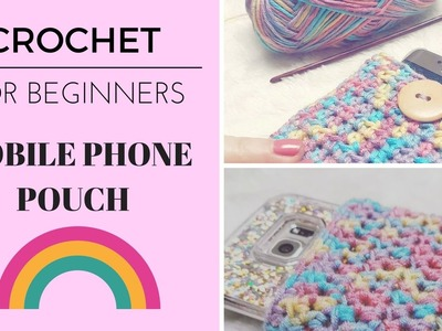 DIY BEGINNERS CROCHET how to rainbow mobile. cell phone pouch cover easy to follow pattern tutorial