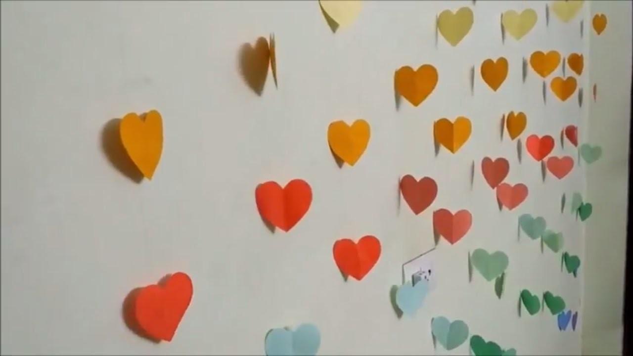 DIY -Hearts Wall-Room Decor    Make Paper Hearts   Easy Paper Crafts