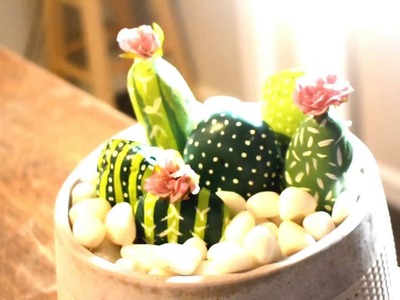 DIY How-to Simple Cute Easy Painted Stone Cactus Desk Garden Craft