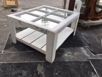 DIY project. Build a Rustic coffee table with a bottom shelf using a vintage wood window.