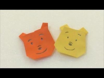 Easy Origami How to make Winnie The Pooh 简单手工折纸  维尼熊 簡単折り紙 くまのプーさんです