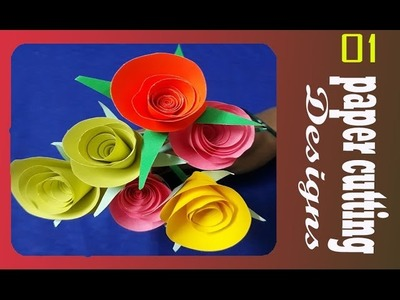 How to make simple rose flower paper art