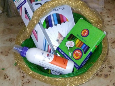 How to make  stationery gift basket for kids.