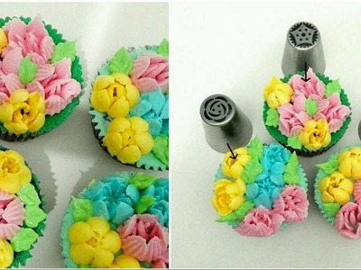 How to use Russian piping tips. How to make cupcake bouquet using Russian piping tips. Easy Baking.