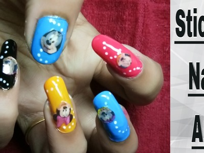Nail Art and Designs With Stickers For Kids At Home Tutorial | Stamping Sticker Tutorial
