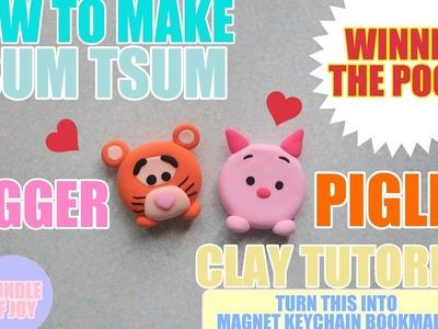 Tsum Tsum DIY - Piglet & Tigger Clay Magnet | Keychain Tutorial