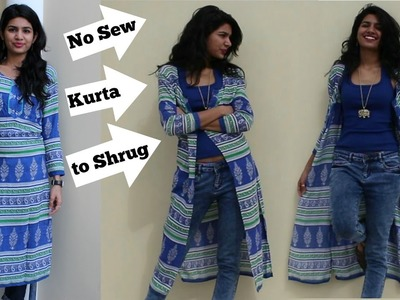 2 Mins.No Sew Convert Kurta into Shrug|DIY |Refashion clothes