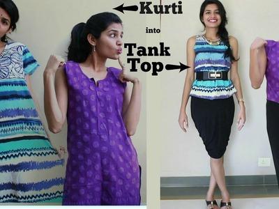 Convert Kurti into Tank Top |Quick DIY| Refashion 2 Ways