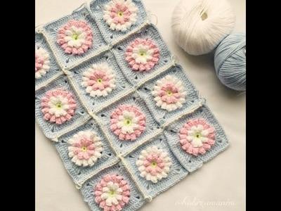 Crochet Granny Square with popcorn flower