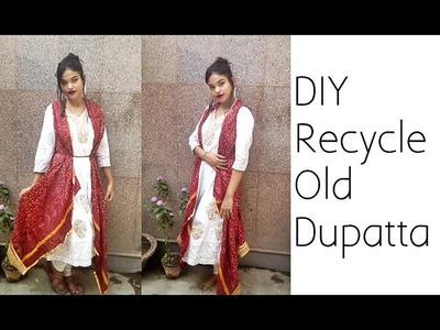 D.I.Y Recycle Old Dupatta Into Anarkali Jacket ( No Sew )