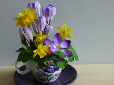 DIY creative idea-How to make tea cup and saucer table decoration for easter or spring with flowers.
