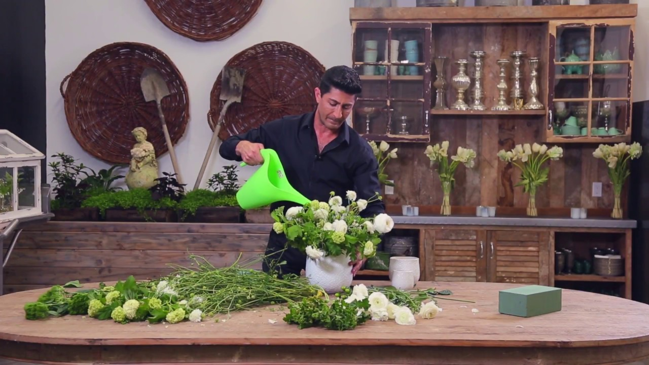 DIY Green and White Floral Arrangement