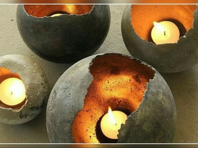 DIY- Home Made Concrete Candle Holder