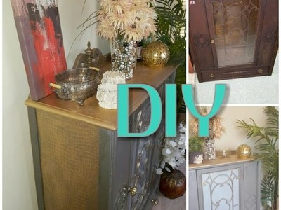 DIY HOW TO ADD TEXTURE AND GOLD TO CABINET FURNITURE