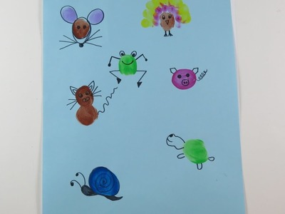 DIY Learn Draw Thumbprint Animals. Easy Drawings for Kids