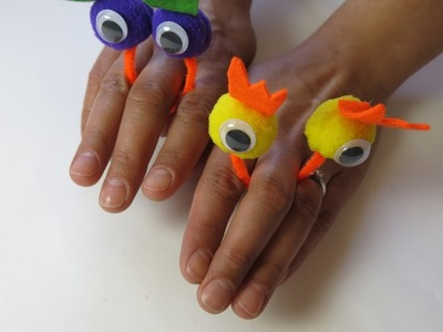 DIY Learn How to Make Finger Puppets. Cute Crafts for Easter.