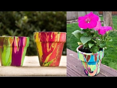DIY Poured Paint Planting Pots