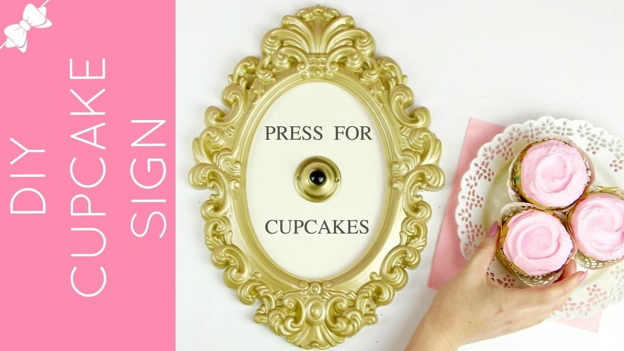 "DIY ""Press For Cupcakes"" Framed Vintage Button Sign. Lindsay Ann Bakes"