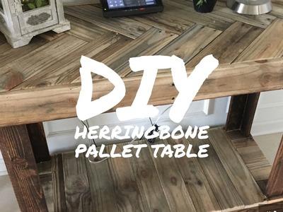DIY RUSTIC PALLET HERRINGBONE PATTERN TABLE - BY KAREN GOVERNABLE