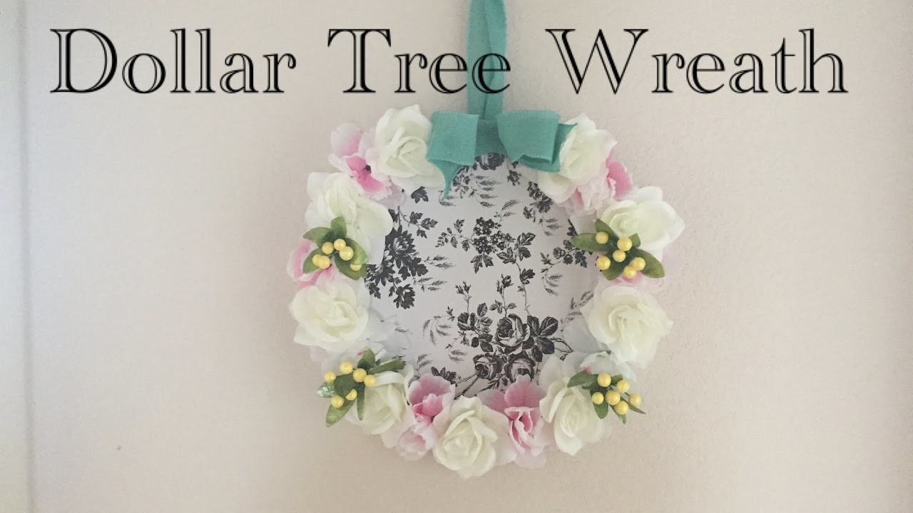 Dollar Tree DIY English Garden Toile Shabby Chic Spring Wreath - Easy $7