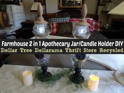 Farmhouse 2 in 1 Apothecary Jar. Candle Holder DIY