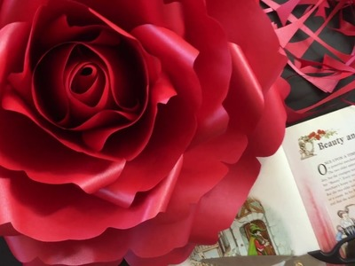 Giant paper rose for Beauty and The Beast window display