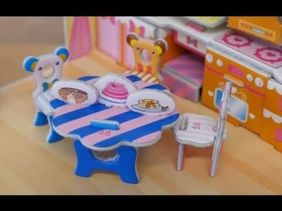 Handmade paper toys Dining room bear video for children