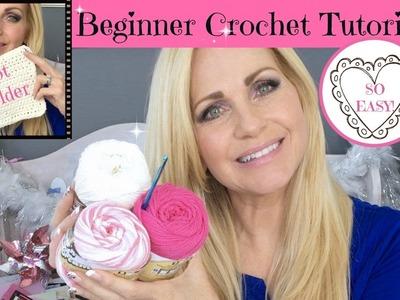 How to Crochet ❥❥❥ Beginner Tutorial to Make a Pot-Holder