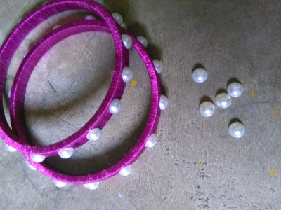 How To Make  Bangles At Home | Silk Threads | Pearls |