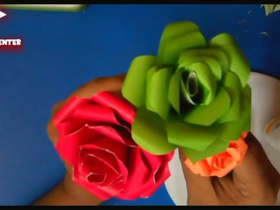 How to Make Realistic Beautiful  Paper  Rose very easy DIY Valentine Rose Paper crafts tutorial