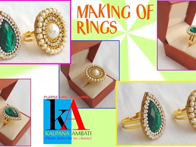 Silk thread party wear ring making at home. DIY