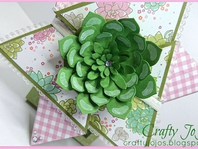 Star fold card featuring the succulent gardens designer paper - Tutorial -