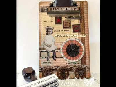 Tim Holtz Altered Clip Board using new Paper Dolls and personalized stamp from Simply Stamps