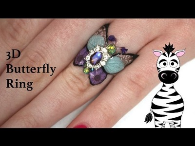 3D Butterfly Ring with REAL FLOWERS Gel Nail Art Tutorial | Born Pretty Store Review