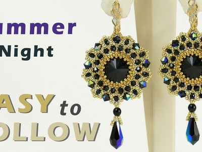 Beading tutorial summer night earrings