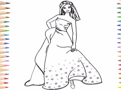 Coloring Pages Barbie For Kids Learn How to Paint Beautiful Barbie Rainbow Dress
