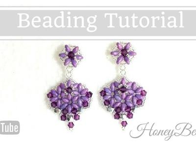 Dangelina Earrings with superduos Beading Tutorial by HoneyBeads1