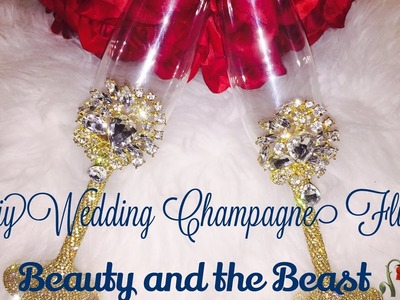 DIY Bling Wedding Champagne Flutes???? D.I.Y Bride Series(part 4) Beauty And The Beast ????
