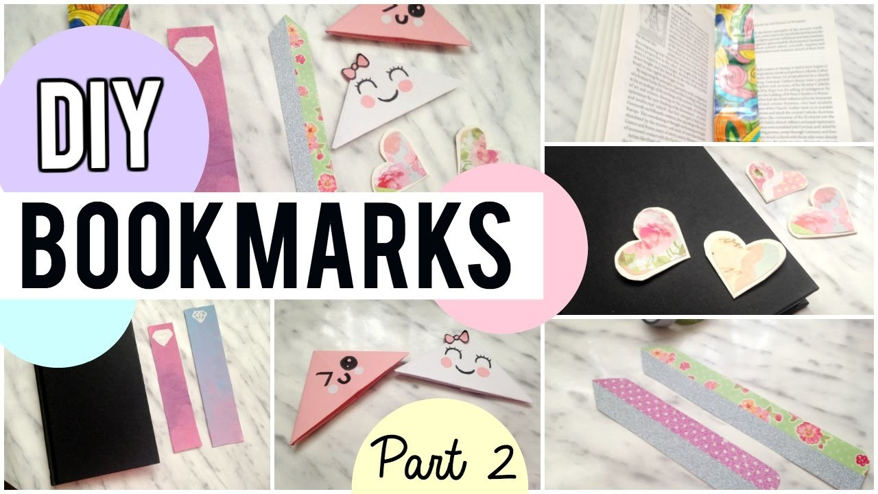 DIY Bookmarks | part 2 | Kawaii, washi tape, heart, ombre & doodle Bookmarks!