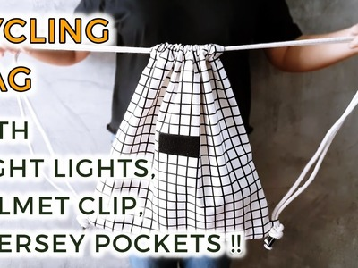DIY Cycling Drawstring Backpack with Jersey Pockets, Helmet Clip, Velcro Lights