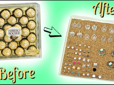 DIY EARING.RING ORGANIZER   Recycling Ferrero Rocher Box!