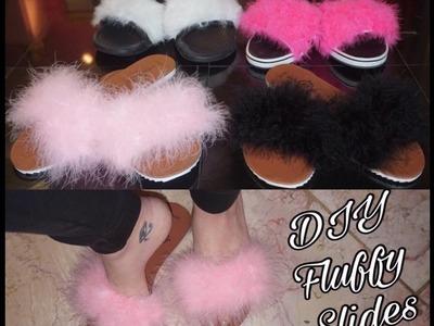 DIY : Fluffy  Slides. Sandals for under $10
