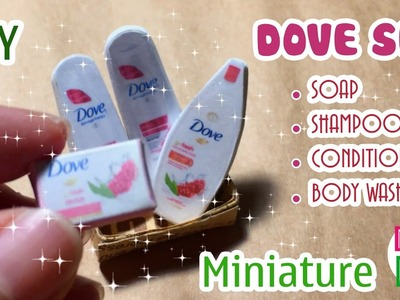 DIY Miniature Dove Set - Soap, Shampoo, Conditioner, Body Wash   Dollhouse